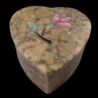 Vintage India Vintage Soap Stone Inlaid Floral Lidded Trinket Box