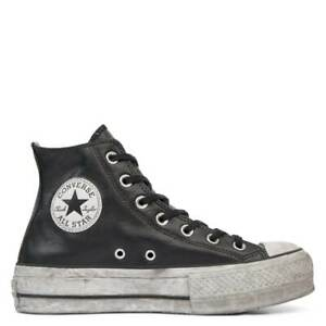 CONVERSE CHUCK TAYLOR ALL STAR LIFT LEATHER PLATFORM HI 562908C PELLE NERA