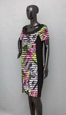 JOSEPH RIBKOFF Dress Black/Floral Ruffle 40 UK 14