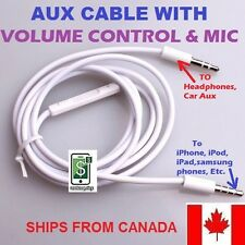 NEW 3.5mm MALE to 3.5mm MALE JACK AUDIO AUX CABLE  WITH MIC & VOLUME CONTROL