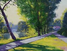 Tumut River Painting green trees painting australian landscape original oil