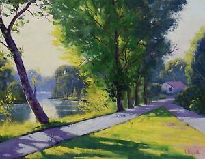 Tumut River Painting green trees painting australian landscape original oil