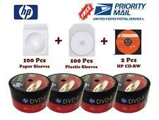 Bonus Pack!!! 200 HP 16X DVD-R Disc+100 each of Paper & Plastic Sleeves+2 CD-RW
