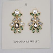 banana republic jewelry huge gold tone drop stud earrings cut crystals for girls