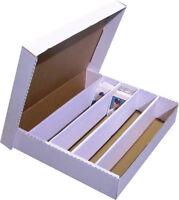 (1) 5000 COUNT 5 ROW HALF LID TRADING CARD CARDBOARD STORAGE BOX HOLDER