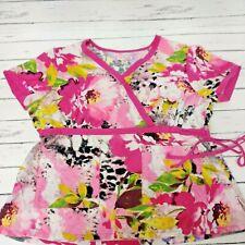 New listing Koi Women's Scrub Top Sz Xl Short Sleeve Pink Floral Two Pockets