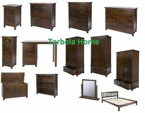Boston Solid Dark Wood Bedroom Furniture Wardrobe Bedsides Chest of drawers
