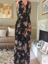 Vtg 1930s style Bias Cut Floral BEADED SEQUIN haltar Dress gown deep plunge 6