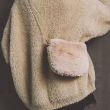 UK Women Faux Fur Crossbody Handbag Shoulder Clutch Bag Furry Chain Purse Button