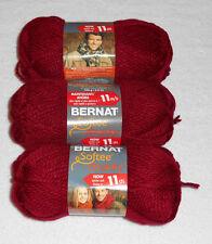 Bernat Softee Chunky Yarn Lot Of 3 Skeins (Wine #28532)