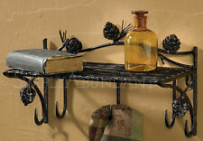 "Pine Lodge Shelf with Hooks by Park Designs, 12.5"" Wide, Iron with Pinecones"