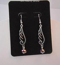 Pretty Faerie fairy wing fairy angel earrings with rainbow crystal silver plated