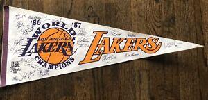 1986-87 LA Lakers World Basketball Champion NBA Pennant Signed by Players