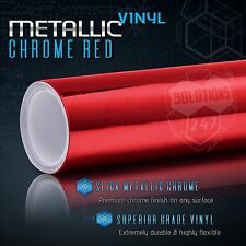 "60"" x 96"" In Red Chrome Mirror Vinyl Wrap Film Sticker Decal Air Bubble Free"