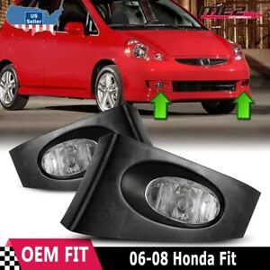For Honda Fit 2007-2008 Factory Bumper Replacement Fit Fog Lights Clear Lens