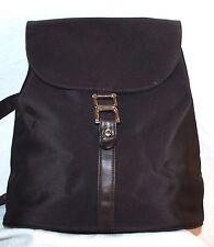 Banana Republic Brown Nylon & Leather Ladies Purse Shoulder Back Pack Style Bag