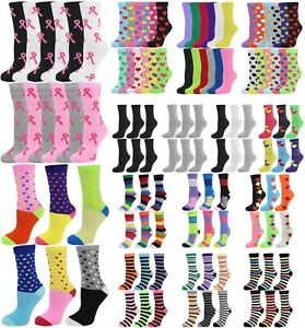 Lot 12 Pack or 6 Pair Women's Cotton Colorful Dots Stripes Argyle Crew Socks