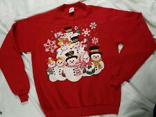 Jerzees Snowman Vintage XMAS Ugly Christmas Sweater Unisex Sz large