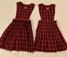 Lot Of 2 Red Plaid Pleated uniform Jumper Size 5 And 6