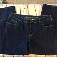 Lands' End Misses 16W Fit 2 Flare leg Dark Wash Denim Stretch Jeans Excellent S