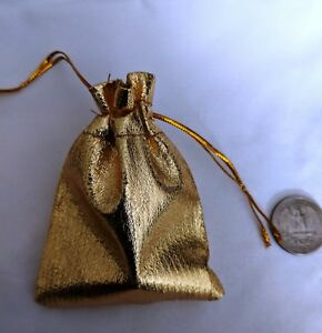 """Gold Fabric Jewelry Gift Favor Bag Pouches New 2.75"""" x 3.5"""" Fast Ship US Seller!"""
