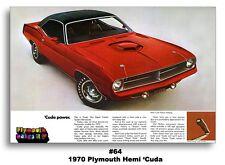 24x36 1970 PLYMOUTH CUDA AD BROCHURE POSTER MOPAR ART PRINT BARRACUDA 426 HEMI