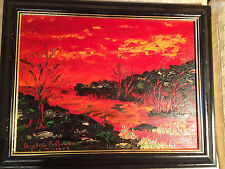 """Nice Elizabeth B Bowen 1977 """"Angry Storm"""" Oil On Board Painting - Framed"""