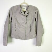 Maurice's Gray Faux Suede Asymmetric Full Zip Womens XS Moto Casual Jacket New