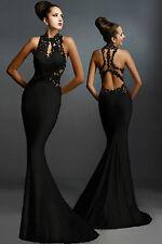 Maxy Abito lungo ricamato pizzo Aderente scollo Nudo Lace Evening Gown Dress M