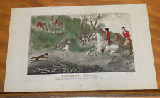 1795 Antique COLOR Fox Hunting  Print///BREAKING COVER by J. Wheble