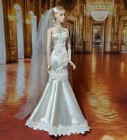 "Ivory Satin Bridal Wedding Gown & Veil 16"" Fashion Doll Tonner Antoinette Deva"