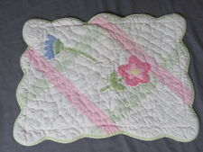 "Vintage Pottery Barn Kids Flowers 12� x 16"" Pillow Sham Quilted Pink Scalloped"