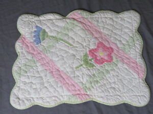 """Vintage Pottery Barn Kids Floral 12""""x16"""" Pillow Sham Quilted Pink Scalloped Case"""