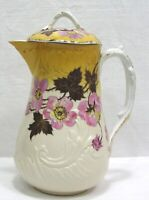 "Vtg Chocolate Pot Pink Prunus Blossoms Brown Leaves Gold Trim 9"" Tall 1920s"