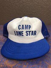 Camp Lone Star Vintage White And Blue Mesh SnapBack Baseball Cap Hat