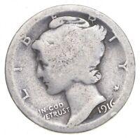 1916 P Mercury Dime circulated 90% Silver  Good  , Average circulated