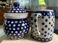 BOLESLAWIEC HAND MADE IN POLAND CREAMER AND COVERED SUGAR BOWL