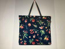 Cath Kidston Large Foldaway Navy Shopping tote Bag Garden vegetable Print