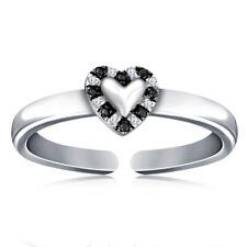 14k White Gold Over 925 Silver 0.25Cts Black & White Diamonds Toe Ring