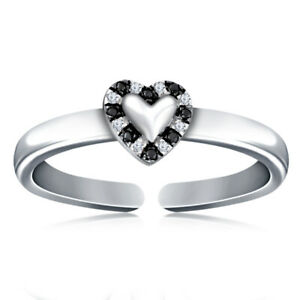 0.25CTS Black & White Diamonds Toe Ring 14k White Gold Over 925 Sterling Silver