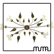 Lampadario Plafoniera 6 luci stile country shabby con vetro di Murano oro