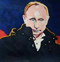 VLADIMIR PUTIN Portrait  Öl auf Leinwand Gemälde Gr. ca. 33x33 cm x
