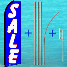 SALE Blue FLUTTER FEATHER FLAG + 15' TALL POLE + MOUNT KIT Swooper Banner Sign