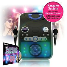 Entertainer CDG Karaoke Machine with Bluetooth & Microphones + Flashing LED Ligh