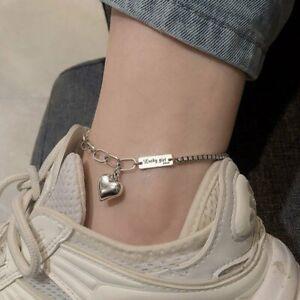 925 Silver Heart Summer Anklet Bracelet Adjustable Women Charm Ocean Jewelry New