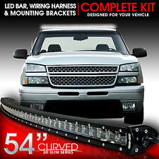 "3D LED Light Bar Kit 50"" Inch 312W Bracket Wiring Switch for Chevy GMC 1999-2006"