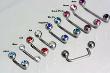 Titanium Surface Bars -with crystal Gems  - Staples,  clips, surface piercings