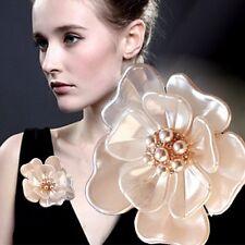Fashion Gold Flower Pearl Rhinestone Crystal Wedding Bridal Bouquet Brooch Pins