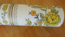 Wash-Strip Vintage Wallpaper Yellow Roses prepasted Vinyl Coated 21 Inch X 33 Ft