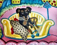 Miniature Pinscher Giclee Art Print 11 x 14 Signed by Artist KSams Vintage Style